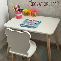 Столы и столики - Комплект - детский стульчик медвежонок и столик, 0