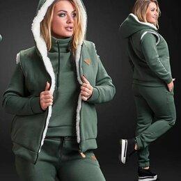 Спортивные костюмы - Теплый спортивный костюм женский на флисе р-ры 48-60, 0