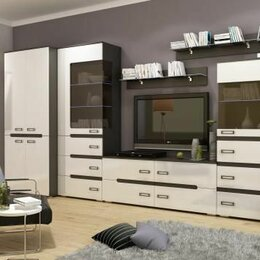 Шкафы, стенки, гарнитуры - Стенка для гостиной венге-белый глянец, 0