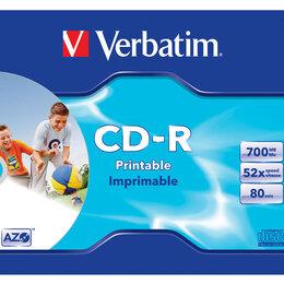Диски - Диск Verbatim CD-R  700 Мб DL+ 52х Slim Photo Printable, 0