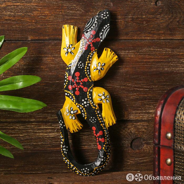"""Панно дерево """"Геккон с желтыми лапками"""" 0,5х7,5х20 см по цене 613₽ - Стеновые панели, фото 0"""