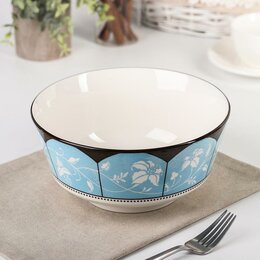 Блюда, салатники и соусники - Салатник 'Вдохновение', 20x9,5 см, цвет голубой, 0