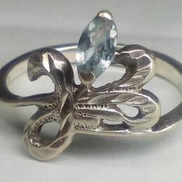Кольца и перстни - Кольцо серебро СССР 925 проба, клеймо, топаз р.17,5, 0