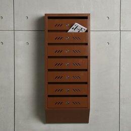 Почтовые ящики - Ящик почтовый многосекционный, 7 секций, с задней стенкой, коричневый, 0