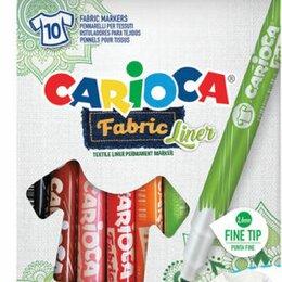 Ткани - Маркеры для ткани CARIOCA (Италия) «Fabric», 10 цветов, круглый наконечник 2,6 м, 0