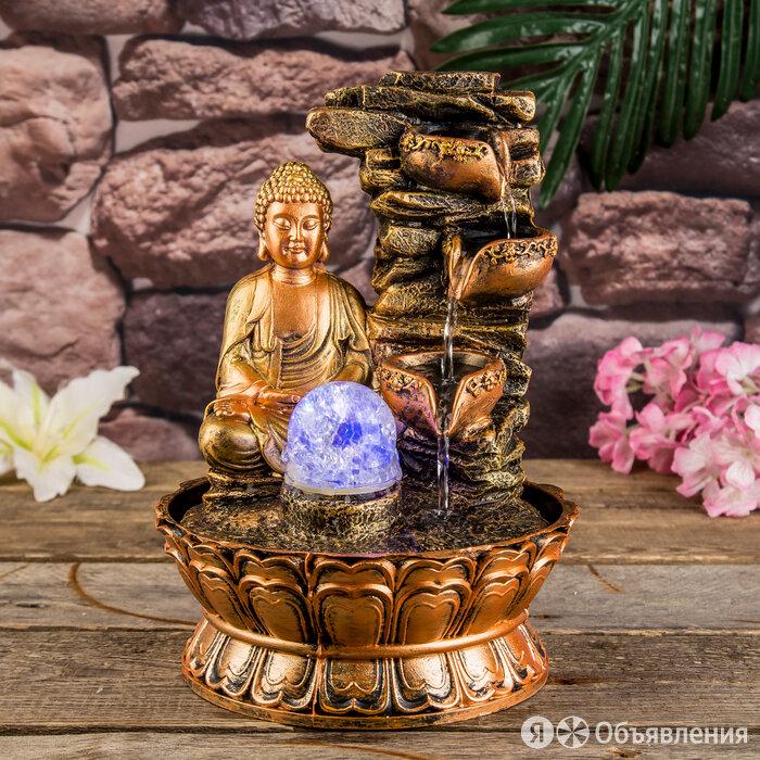 Фонтан настольный полистоун 220В 'Будда у скалы с чашами' 30х21х21 см по цене 3392₽ - Декоративные фонтаны и панели, фото 0