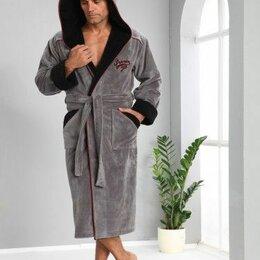 Домашняя одежда - 3XL1170 Мужской махровый халат с капюшоном Nusa Triga 3XL серый. Турция ., 0