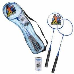 Ракетки - 1toy Бадминтон 2 ракетки, 2 волана (металл, ручка дерево) сумка, 0