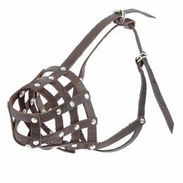 Намордники и недоуздки  - Намордник кожаный 'Зооник' 4 (немецкая овчарка), длина по носу 9,5 см, обхват..., 0
