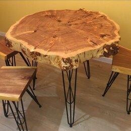 Столы и столики - Круглый стол из спила  капового тополя лофт(эко стиль) Массив, слэб. Подарок, 0