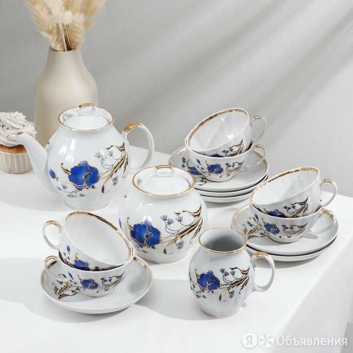 Сервиз чайный 'Синий мак', 15 предметов по цене 6074₽ - Сервизы и наборы, фото 0