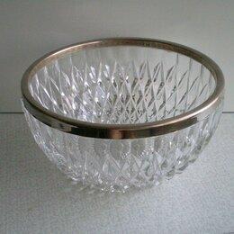 Посуда - Ваза хрустальная с мельхиоровым ободком, 0