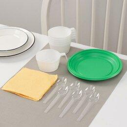 Наборы для пикника - Набор одноразовой посуды Доляна «Десертный», 6 персон, тарелки десертные, чаш..., 0