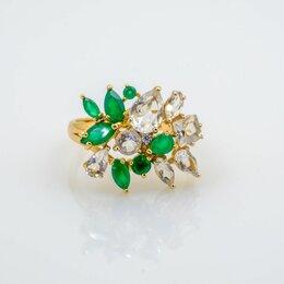 Кольца и перстни - 💎 Золотое кольцо с зеленым агатом и цирконом, 585 проба. !, 0