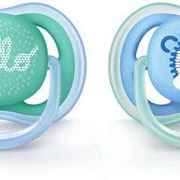 Пустышки и аксессуары - Avent Пустышка силиконовая Ultra Air (Ёжик) для мальчика (6) 6-18мес 2шт, 0
