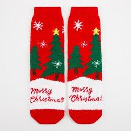 Домашняя одежда - Носки женские махра-пенка Merry Christmas, цвет красный, р-р 23-25 (р-р обуви..., 0