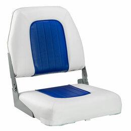 Плетеная мебель - Кресло мягкое складное Deluxe, обивка винил, цвет белый/синий, Marine Rocket, 0