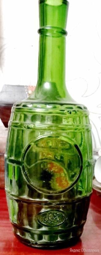 бутылка в форме бочонка,зеленое стекло,старая по цене 1800₽ - Этикетки, бутылки и пробки, фото 0
