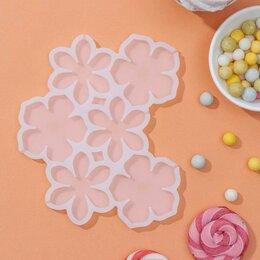 Формы для льда и десертов - Форма для леденцов «Цветочки», 6 ячеек, 14×12×0,7 см, цвет белый, 0