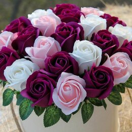 Цветы, букеты, композиции - Букеты из мыльных роз в коробке, 0