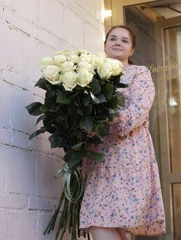 Цветы, букеты, композиции - букет  Белых высоких роз 100 см, 0