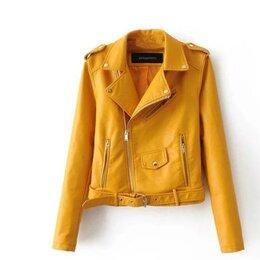 Куртки - Жёлтая кожаная куртка женская, 0