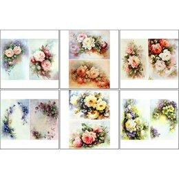 Декупаж - Набор декупажных карт 6 шт 'Винтажные цветы', 0