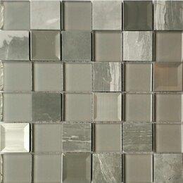 Мозаика - Мозаика Tessare 29,8х29,8х0,6см стекло-мрамор микс серо-прозрачный шт(KS249), 0
