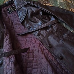 Пальто - Плащ-пальто утепленный кожаный, 0