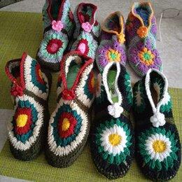 Домашняя обувь - Тапочки крючком из мотивов на войлочной подошве, 0