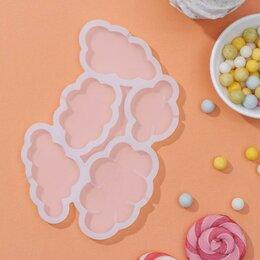 Формы для льда и десертов - Форма для леденцов «Облачка», 5 ячеек, 15×10,5×0,7 см, цвет белый, 0