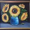 """Картина """"Подсолнухи в вазе"""", с багетом, 41х35,5см, масло, холст по цене 3000₽ - Картины, постеры, гобелены, панно, фото 1"""