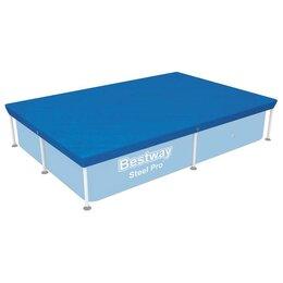 Тенты и подстилки - Тент для прямоугольных каркасных бассейнов 221 х 150 см, 58103 Bestway, 0