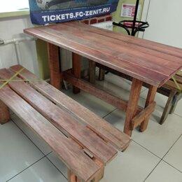 Мебель для учреждений - Деревянные столы и лавки для кафе, 0
