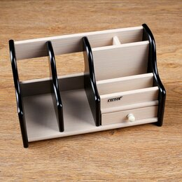 Органайзеры и кофры - Органайзер 6 секций, 1 выдв ящик, венге/дуб молочный, 28*14*16см, 0