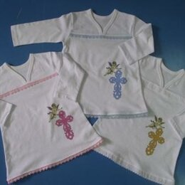 Крестильная одежда - Крестильная рубашка розовый крестикТри Медведя, 0