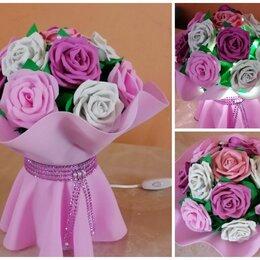 Ночники и декоративные светильники - Букет цветов роз  из фоамирана, (светильник _ночник), 0