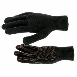 """Одежда - Перчатки трикотажные, акрил, ПВХ гель, """"Протектор"""", черны, оверлок Росси..., 0"""