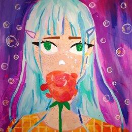 Картины, постеры, гобелены, панно - Картина актилом на мдф Девушка аниме с розой, 0