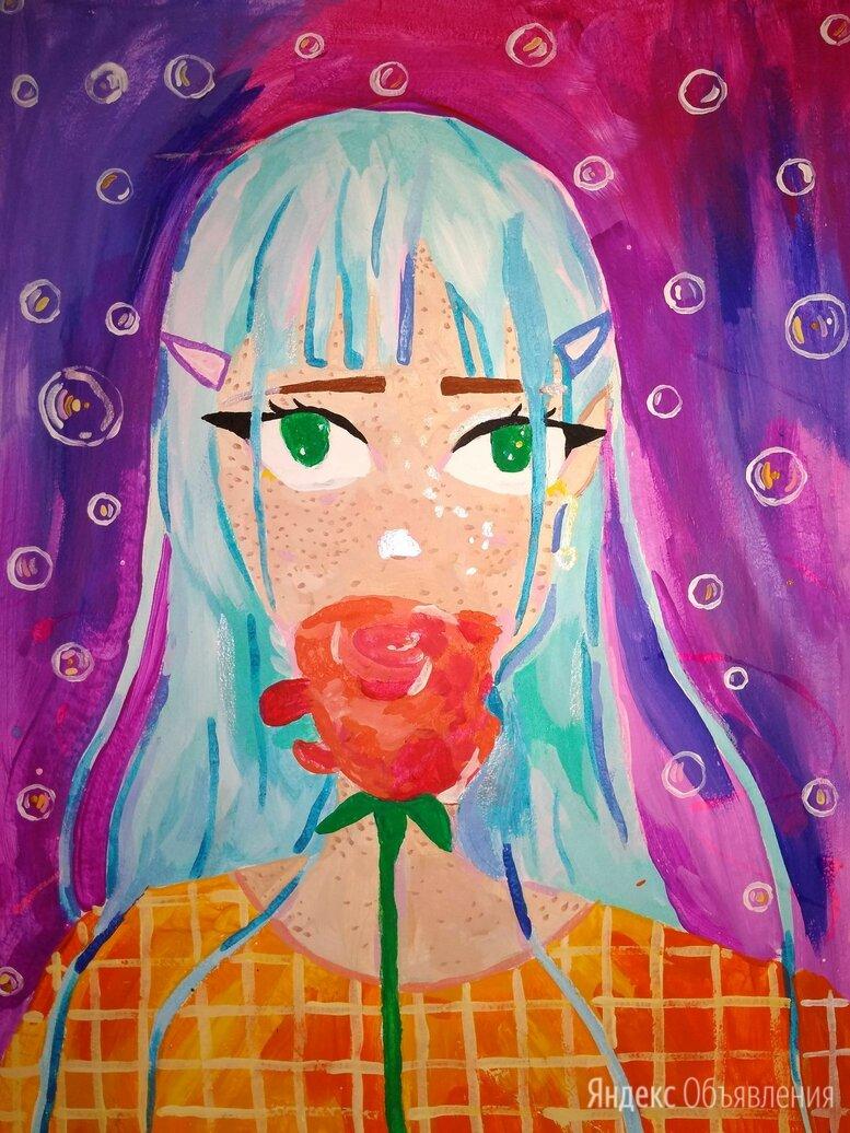 Картина актилом на мдф Девушка аниме с розой по цене 2300₽ - Картины, постеры, гобелены, панно, фото 0