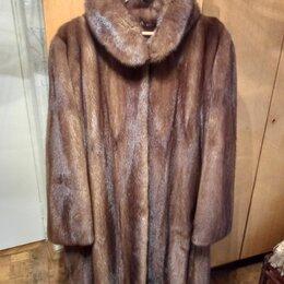 Шубы - Шуба норковая коричневая длинная с капюшоном, 0