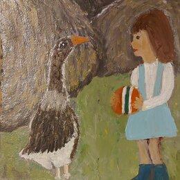 Картины, постеры, гобелены, панно - Картина девочка и гусь 20 на 20 см, 0