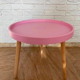 Столы и столики - Стол журнальный круглый пластик+дерево, розовый, 0