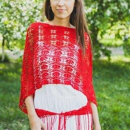 Накидки - Ажурная красная шаль палантин, 0