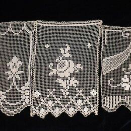 Шторы - Три занавески филейные ажурные, винтаж 40х57, 0