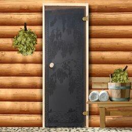 """Двери - Дверь для бани и сауны стеклянная """"Берёзка"""", размер коробки  190×70см, 6мм, 0"""