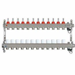 Коллекторы - Коллектор для теплого пола на 12 контуров Taen с расходомерами (гребенка), 0