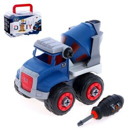 Детские наборы инструментов - Конструктор винтовой «Бетономешалка», 6 деталей, 7 болтов, отвёртка, цвет синий, 0