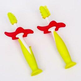 Зубные щетки - Набор зубные щетки-массажеры для малышей, цвет зелёный, 0