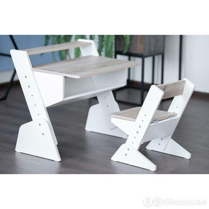 Детская растущая парта и стул Так Так 730x700x790 Дуб Серый/Белый по цене 9537₽ - Мебель для кухни, фото 0